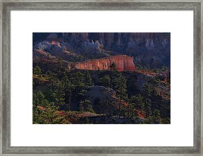 Framed Print featuring the photograph Backlit Hoodoos At Sunrise by Stephen  Vecchiotti