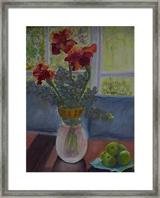 Backlit Irises Framed Print by Bonnie Hanly