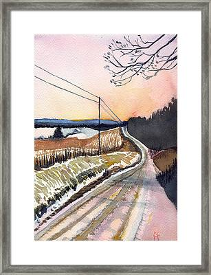 Backlit Roads Framed Print