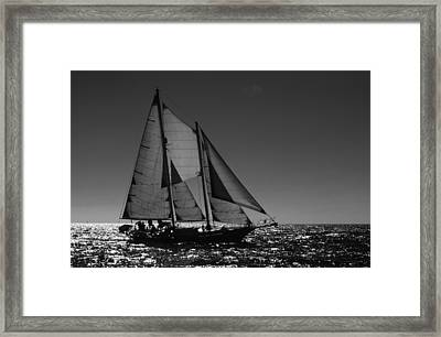 Backlit Schooner 2 Framed Print