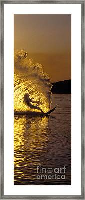 Backlit Waterskier  -  Part 3 Of 3 Framed Print by Sean Davey