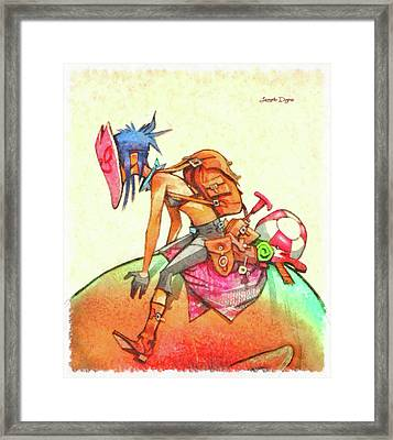 Backpacker Girl Framed Print by Leonardo Digenio