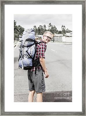 Backpacking Man On Travel Adventure Framed Print