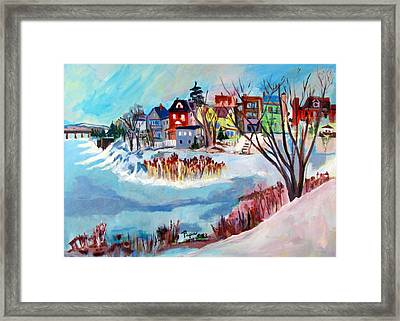 Backside Of Schenectady Stockade In February Framed Print