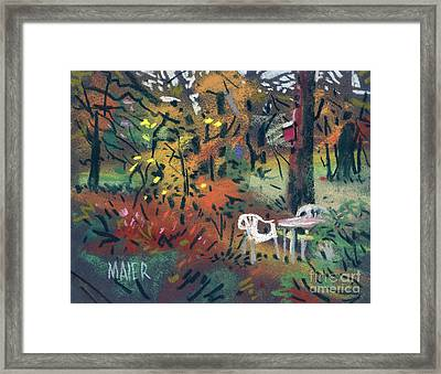 Backyard In Autumn Framed Print by Donald Maier