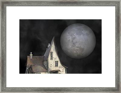Backyard Moon Super Realistic  Framed Print