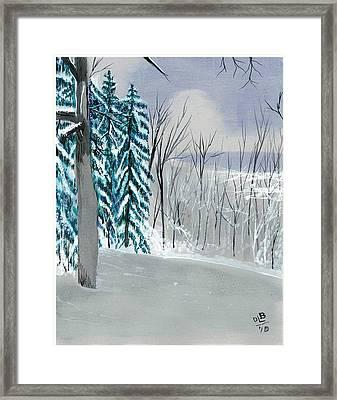 Backyard Snow Framed Print