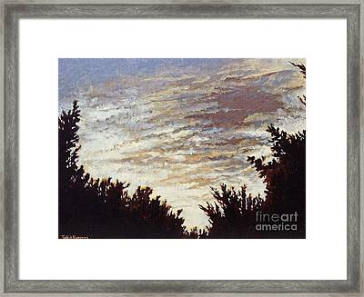 Framed Print featuring the painting Backyard Sunset by Todd Blanchard