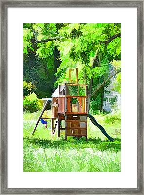 Backyard With Wooden Playground  Framed Print