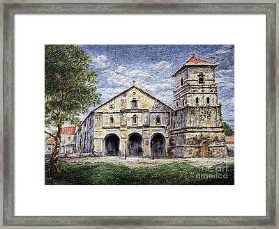 Framed Print featuring the painting Baclayon Church by Joey Agbayani