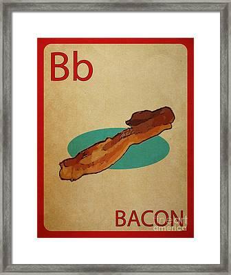 Bacon Vintage Style Flashcard Framed Print by Mynameisjz JZ