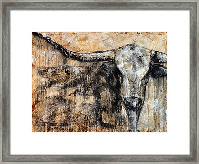 Bad Attitude Texas Longhorn Contemporary Painting Framed Print