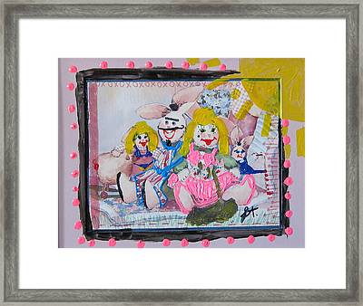Framed Print featuring the painting Bad Bunnies by Lisa Piper