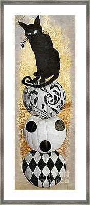 Bad Cat Halloween Framed Print by Mindy Sommers