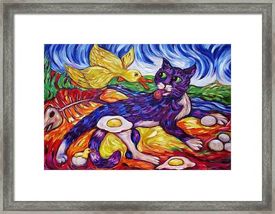 Bad Kitty Gets Caught Again Framed Print by Dianne  Connolly