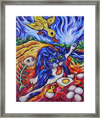 Bad Kitty Gets Caught Framed Print by Dianne  Connolly