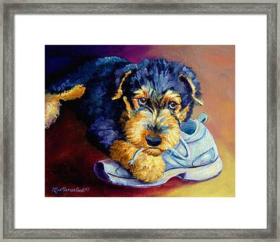 Bad Puppy Airedale Terrier Framed Print by Lyn Cook