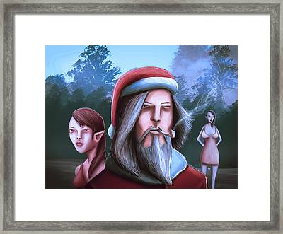 Bad Santa  Sexy Elf Party Framed Print by Rui Barros