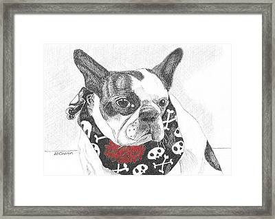 Framed Print featuring the drawing Bad To The Bone by Arlene Crafton