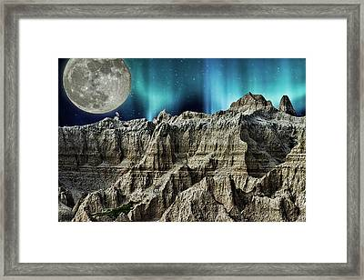 Badland's Borealis Framed Print