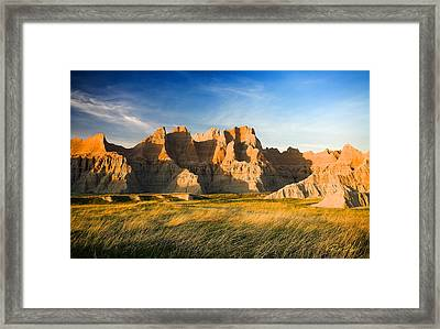 Framed Print featuring the photograph Badlands In Late Afternoon by Rikk Flohr