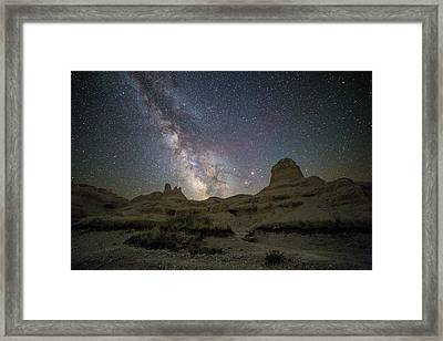 Badlands Milky Way Happy Astronomy Day Framed Print by Aaron J Groen