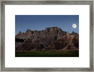 Framed Print featuring the photograph Badlands Moon Rising by Jemmy Archer