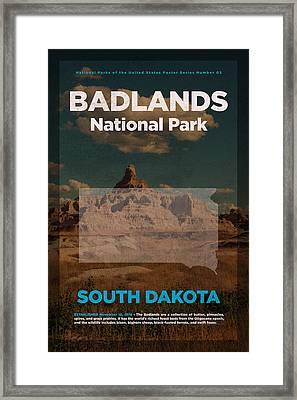 Badlands National Park In South Dakota Travel Poster Series Of National Parks Number 03 Framed Print