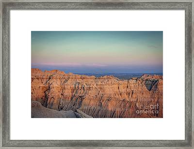 Badlands Sunset View To The East Framed Print by Joan McCool