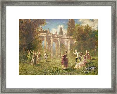 Badminton Players Framed Print by Johan Friedrich Hennings