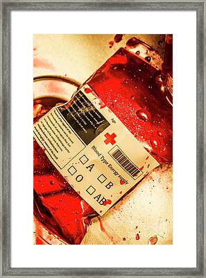 Bag Of Blood In Stainless Steel Surgical Ward Framed Print