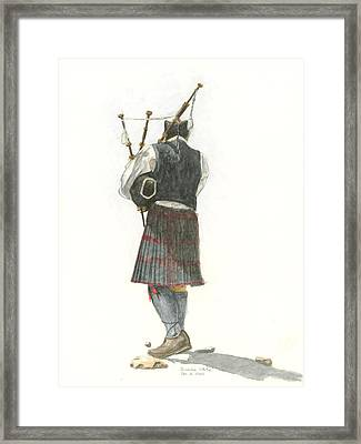 Bag Piper On A Maine Beach Framed Print