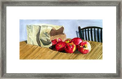 Bag With Apples Framed Print by Anne Trotter Hodge