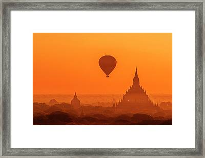 Framed Print featuring the photograph Bagan Pagodas And Hot Air Balloon by Pradeep Raja Prints