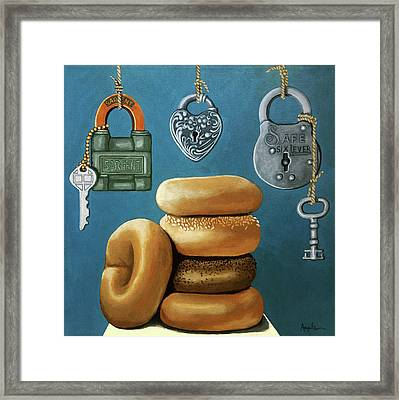Bagels And Locks Framed Print