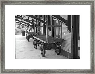 Baggage Carts Bw Framed Print