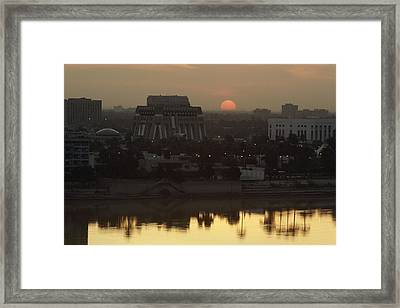 Baghdad And The Tigris River At Sunset Framed Print by Lynn Abercrombie