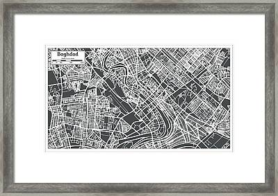 Baghdad Iraq City Map In Retro Style. Framed Print