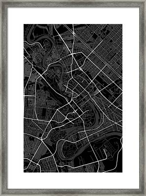 Baghdad Iraq Dark Map Framed Print
