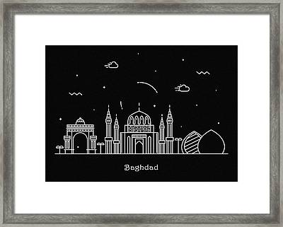 Baghdad Skyline Travel Poster Framed Print