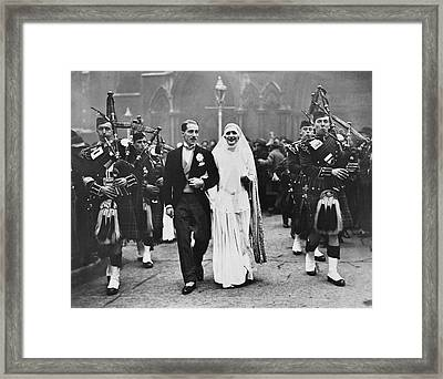 Bagpipe Wedding Ceremony Framed Print by Underwood Archives