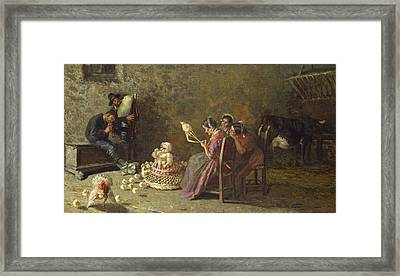 Bagpipers Of Brianza C. 1883 Framed Print by Giovanni Segantini