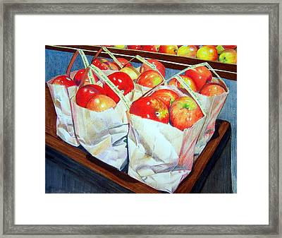 Bags Of Apples Framed Print by Constance Drescher