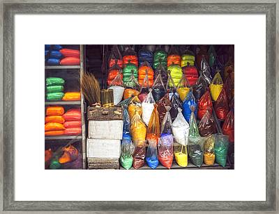 Bags Of Paint Powder Colors Hanoi Vietnam Framed Print by Eduardo Huelin