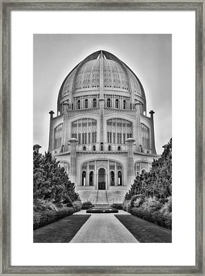 Framed Print featuring the photograph Baha'i Temple - Wilmette - Illinois - Vertical Black And White by Photography  By Sai