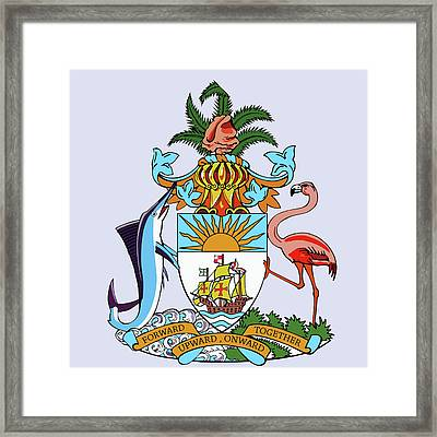 Framed Print featuring the drawing Bahamas Coat Of Arms by Movie Poster Prints