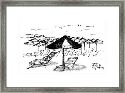 Framed Print featuring the drawing bahamas II by Fanny Diaz