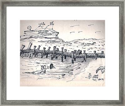 Framed Print featuring the drawing bahamas III by Fanny Diaz