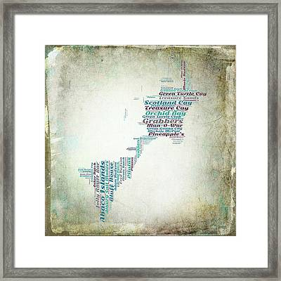 Bahamas Map Framed Print by Brandi Fitzgerald