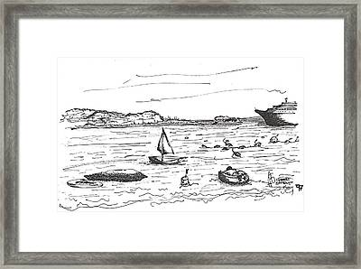 Framed Print featuring the drawing bahamasI by Fanny Diaz